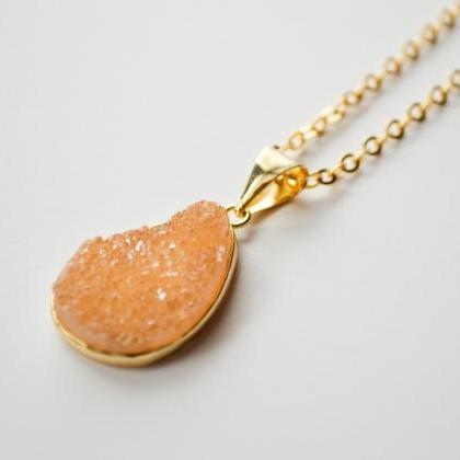 Natural Yellow-Orange Druzy Pendant..